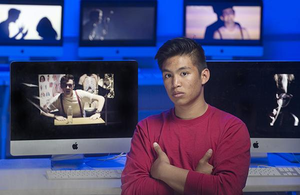 After approaching former American Idol finalist, Trevor Douglas, Poom Wattanapan and a group of seniors from the communications magnet produced and filmed an original music video. Photo by Sarah Allen
