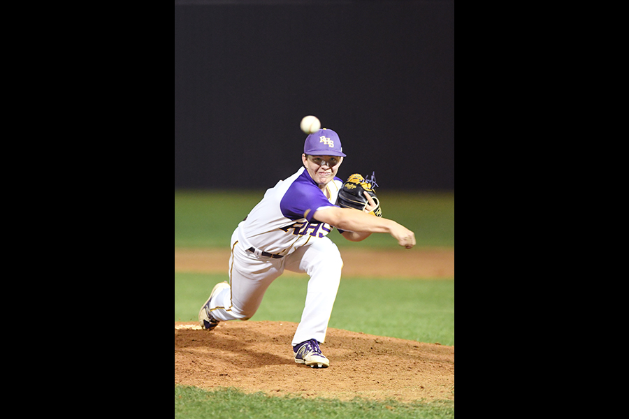 Freshman Luke Mulvey came in at the top of the fifth inning with two outs, losing 5-0. Photo by Chad Byrd