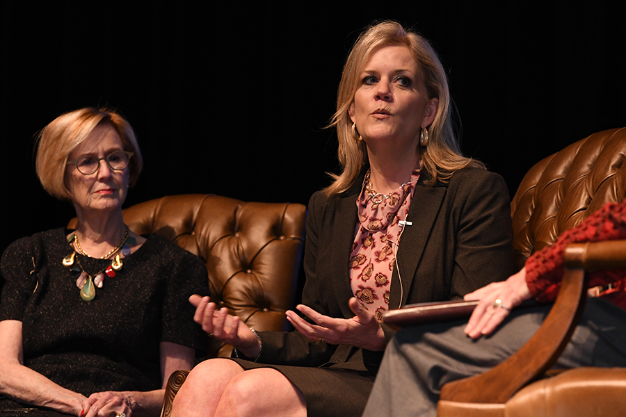 Superintendent Jeannie Stone speaks as part of a conversation to educate the public about the RISD's history, accomplishments, and challenges. Photo by Chad Byrd