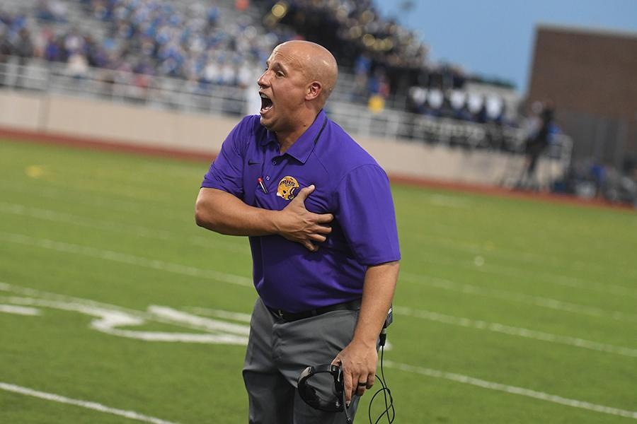 After coaching in four different cities, Athletic Coordinator and Head Football Coach Greg Pels found a home at RHS this year. Photo by Chad Byrd