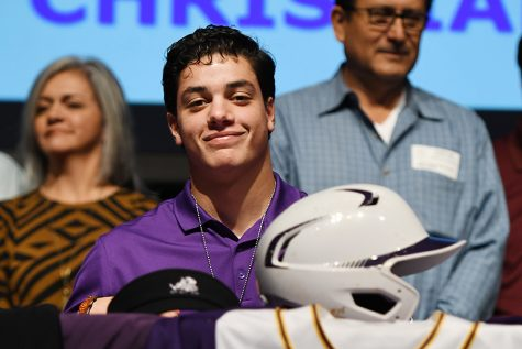 Senior Esteban Cardoza signed to play baseball at Texas Christian University in the fall at a ceremony with eight other seniors on Wednesday. Photo by Chad Byrd