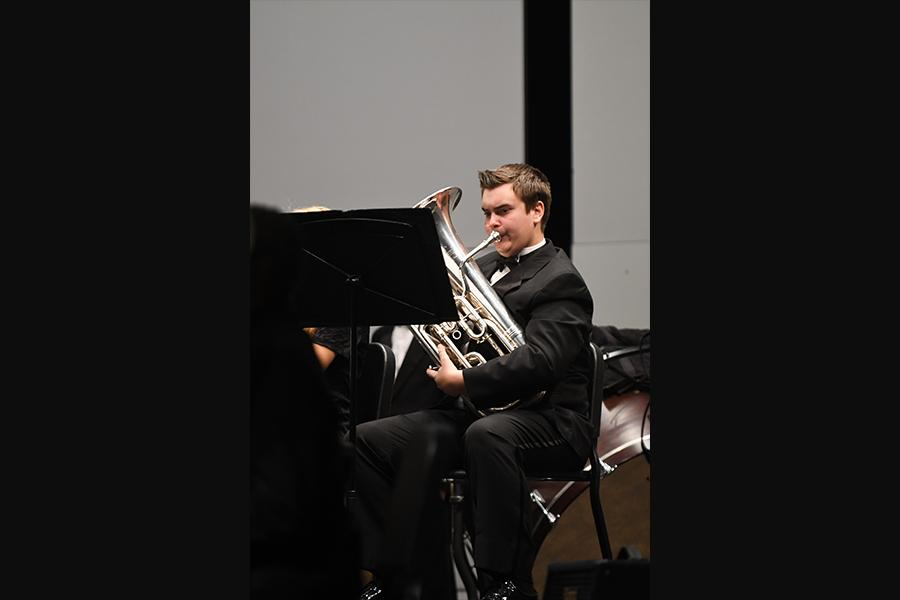 Junior euphonium-player Adam Pobanz made All-Region, along with a record 49 other band members this year. Photo by Henry Carpenter
