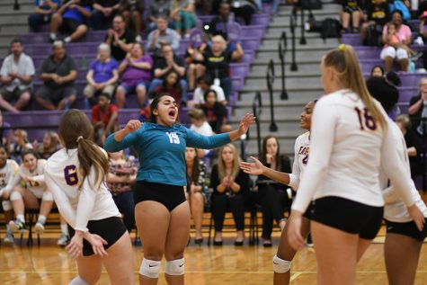 Senior Alex Sarathy celebrates a point against Lake Highlands. Talon photo by Jacob Richman Photo credit: Jacob Richman