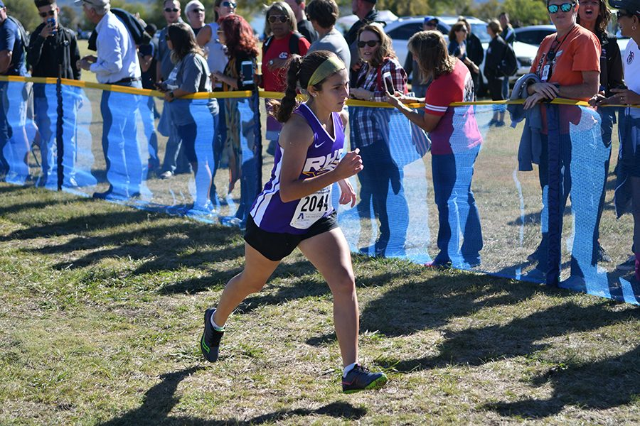 Freshman+Brianna+Farias+in+the+final+leg+of+the+Regional+Cross+Country+meet+where+she+secured+her+place+at+the+state+competition%2C+making+her+the+first+freshman+or+female+runner+from+Richardson+to+advance+to+state.+Talon+photo+by+Ali+Nosrat