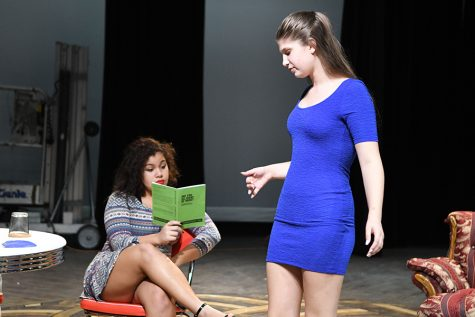 "Junior Sophia Falies and Junior Madison Triplett rehearse lines before performing ""Are You Alright in There"" by David-Matthew Barnes as part of the Junior Directing Waves. Photo By Michelle Rodriguez"