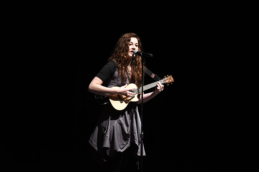 America's Got Talent semi-finalist Mandy Harvey plays one of her orginal songs on the ukulele for fine arts students in the auditorium. Harvey lost her hearing when she was 19, but after ten years of practice and training she is performing again. Talon Photo Alex Nowak