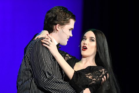 "Seniors Nathan May and Julia Butcher play Gomez and Morticia Addams during the annual school musical ""The Addams Family"" Febuary 1-4. Photo by Chad Byrd"