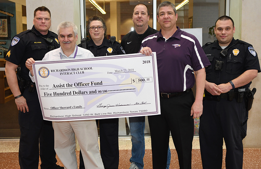 After weeks of fundraising by Senior Interact, Physics teacher George Hademenos and Principal Chris Choat presented a check for $500 to the Richardson Police Department on March 23rd in honor of Officer David Sherrard, the ever first officer to die in the line of duty for RPD.