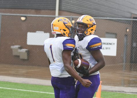Stone Carter and Marcus Johnson celebrate after one of four touchdowns the pair combined for in the Eagles 28-14 win over Samuell HS in Pleasant Grove Saturday afternoon. Photo by Audrey Anders