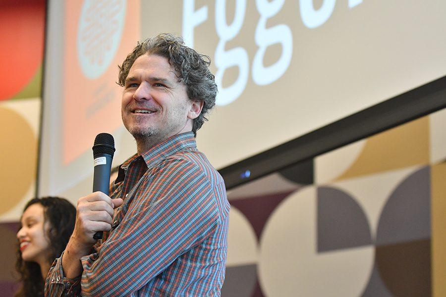 Author+Dave+Eggers+debates+the+pros+and+cons+of+techonogly+with+the+student+filled+crowd.+Photo+by+Chad+Byrd